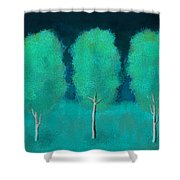 Trees In Triplicate Moonlit Winter Shower Curtain by Robin Lewis