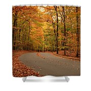 Trees Of Autumn - Holmdel Park Shower Curtain by Angie Tirado