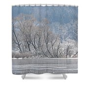 Trees On A Frozen Lake Shower Curtain
