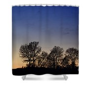 Trees On A Hill In Sunset Shower Curtain