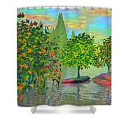 Trees On Rocks In A Lake Shower Curtain
