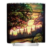 Trees Stained Glass Window Shower Curtain