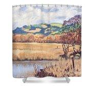 Cors Caron Nature Reserve Tregaron Painting Shower Curtain