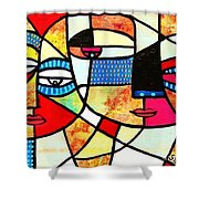 Tribal Batik Mask Reflection Shower Curtain