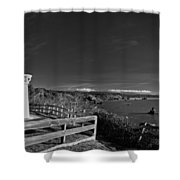 Trinidad Memorial Lighthouse In Black And White Shower Curtain