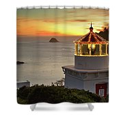 Trinidad Memorial Lighthouse Sunset Shower Curtain