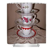 Trio Of Valentine Tea Cups  Shower Curtain