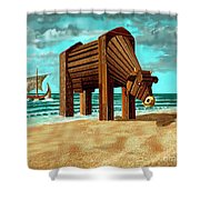 Trojan Cow Shower Curtain by Russell Kightley