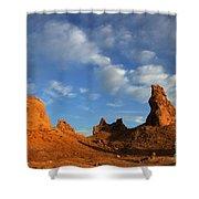 Trona Pinnacles Golden Hour Shower Curtain