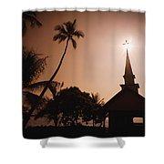 Tropical Church In Silhouette Shower Curtain