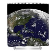 Tropical Storms On Planet Earth Shower Curtain