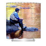 Trout Fisherman In Autumn Shower Curtain