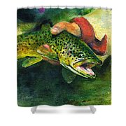 Trout In Hand Shower Curtain
