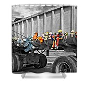 Truck And Dolls With Selective Coloring Shower Curtain