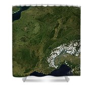 True-color Satellite View Of France Shower Curtain