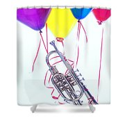 Trumpet Lifted By Balloons Shower Curtain