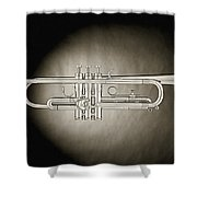 Trumpet On Spotlight B And W Shower Curtain