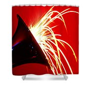 Trumpet Shooting Sparks Shower Curtain
