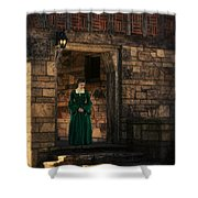 Tudor Lady In Doorway Shower Curtain