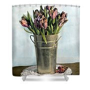 Tulips In Metal Vase Shower Curtain