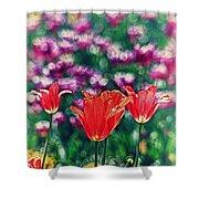 Tulips On Beautiful Bokeh Shower Curtain
