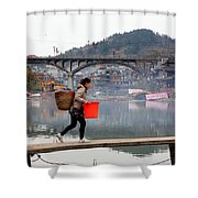 Tuojiang River In Fenghuang Shower Curtain