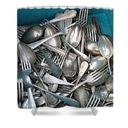 Turquoise Box Of Silverware Shower Curtain