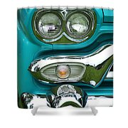 Turquoise Headlight Shower Curtain