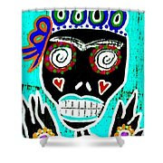 Turquoise Queen Sugar Skull Angel Shower Curtain