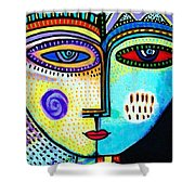 Turquoise Sky Goddess Shower Curtain