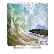 Turquoise Wave Breaking On Makena Shore Shower Curtain