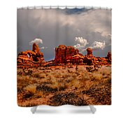 Turret Arch And Storm Clouds Shower Curtain