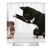 Tuxedo Kitten With Guinea Pig Shower Curtain