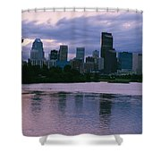 Twilight On The Bow River And Calgary Shower Curtain