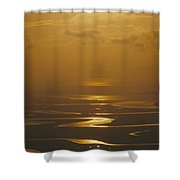 Twilight Over A Wetland With Meandering Shower Curtain