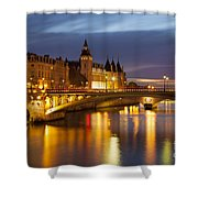 Twilight Over River Seine And Conciergerie Shower Curtain