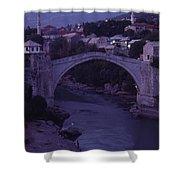 Twilight View Of A 15th-century Bridge Shower Curtain