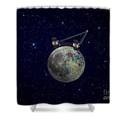 Twin Grail Spacecraft Map The Moons Shower Curtain