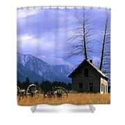 Twin Tree Cabin Shower Curtain