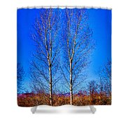 Twin Trees At South Platte Park Shower Curtain