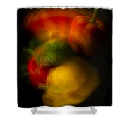 Twisting Peppers Shower Curtain