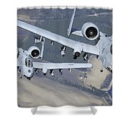 Two A-10c Thunderbolt II Aircraft Fly Shower Curtain