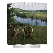 Two Adirondack Chairs On A Scenic Shower Curtain