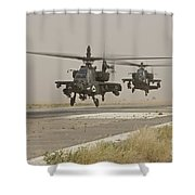 Two Ah-64 Apache Helicopters Prepare Shower Curtain