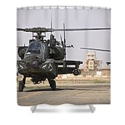 Two Ah-64 Apache Helicopters Return Shower Curtain