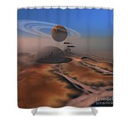 Two Aircraft Fly Over Domes Shower Curtain