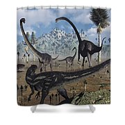 Two Allosaurus Predators Plan Shower Curtain