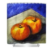 Two Apples With Blue Shower Curtain