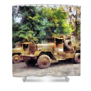 Two Army Trucks Shower Curtain