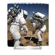 Two Astronauts Collect Soil Samples Shower Curtain by Stocktrek Images